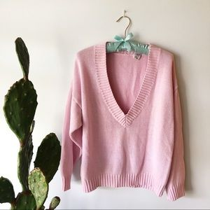 VINTAGE Pink V Neck Knit Sweater